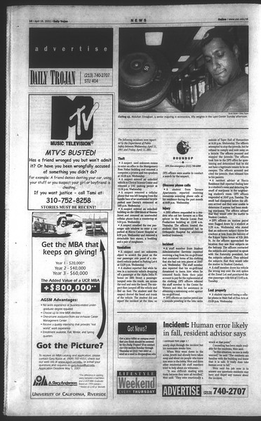 Daily Trojan, Vol. 142, No. 59, April 16, 2001