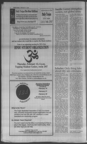 Daily Trojan, Vol. 133, No. 24, February 12, 1998