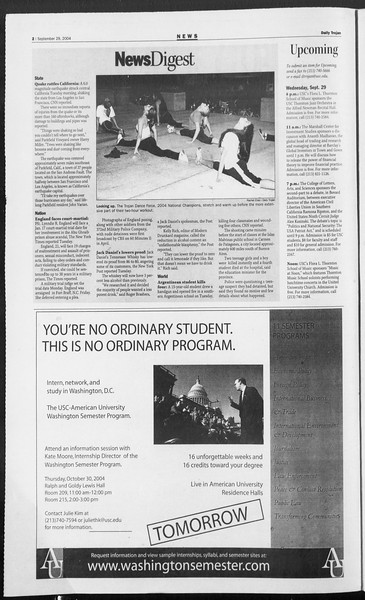 Daily Trojan, Vol. 153, No. 25, September 29, 2004