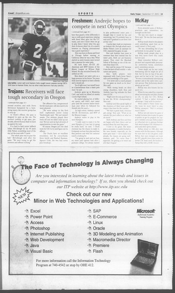 Daily Trojan, Vol. 144, No. 13, September 17, 2001