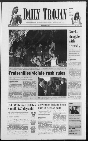 Daily Trojan, Vol. 153, No. 8, September 01, 2004