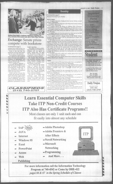 Daily Trojan, Vol. 133, No. 2, January 09, 1998
