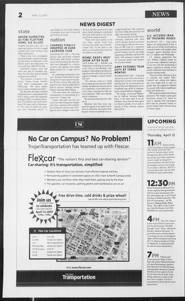 Daily Trojan, Vol. 160, No. 57, April 12, 2007