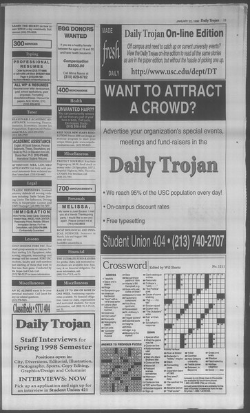 Daily Trojan, Vol. 133, No. 9, January 22, 1998