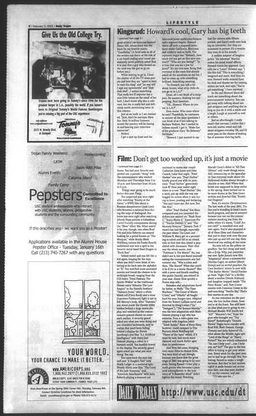 Daily Trojan, Vol. 142, No. 17, February 02, 2001