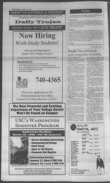 Daily Trojan, Vol. 133, No. 10, January 23, 1998