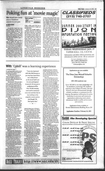 Daily Trojan, Vol. 142, No. 6, January 18, 2001