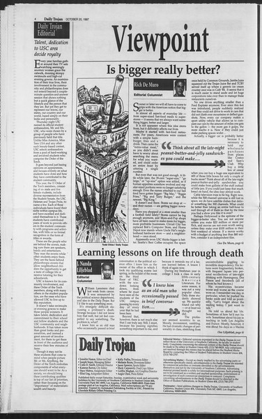 Daily Trojan, Vol. 132, No. 40, October 24, 1997