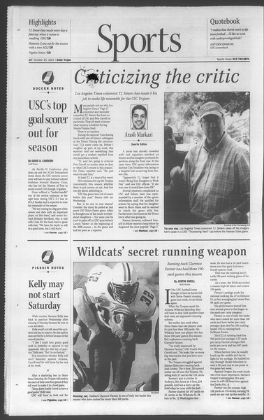Daily Trojan, Vol. 144, No. 41, October 25, 2001