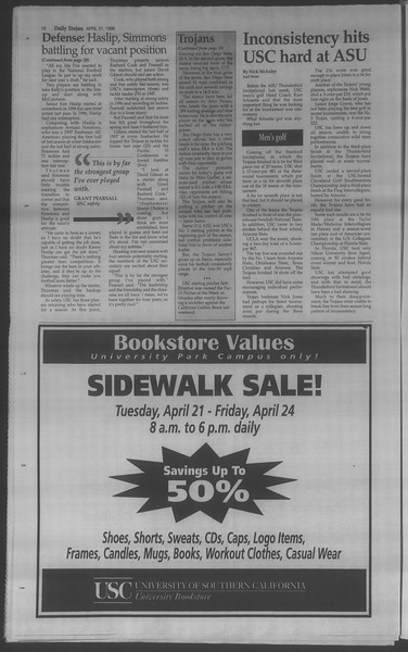 Daily Trojan, Vol. 133, No. 63, April 21, 1998