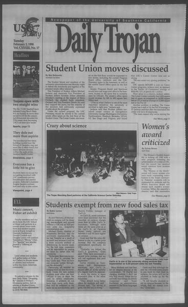 Daily Trojan, Vol. 133, No. 17, February 03, 1998