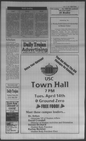 Daily Trojan, Vol. 133, No. 58, April 14, 1998