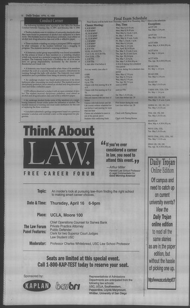 Daily Trojan, Vol. 133, No. 59, April 15, 1998