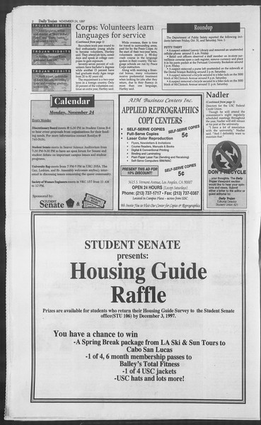 Daily Trojan, Vol. 132, No. 61, November 24, 1997