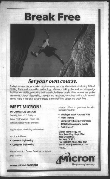 Daily Trojan, Vol. 142, No. 40, March 20, 2001