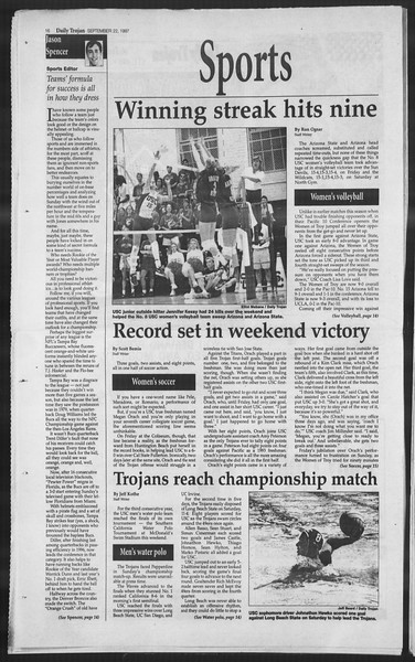Daily Trojan, Vol. 132, No. 17, September 22, 1997
