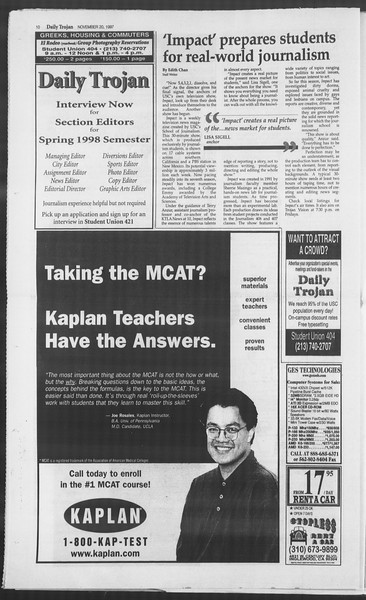 Daily Trojan, Vol. 132, No. 59, November 20, 1997