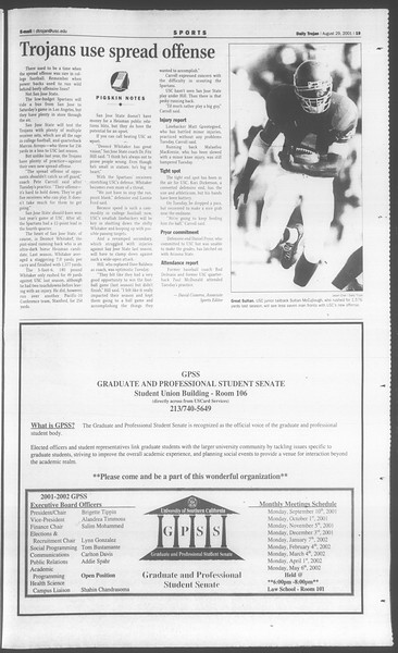 Daily Trojan, Vol. 144, No. 3, August 29, 2001