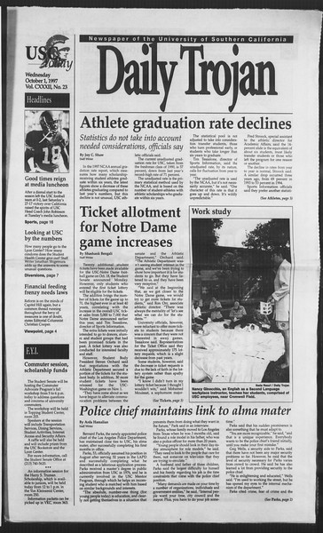 Daily Trojan, Vol. 132, No. 23, October 01, 1997