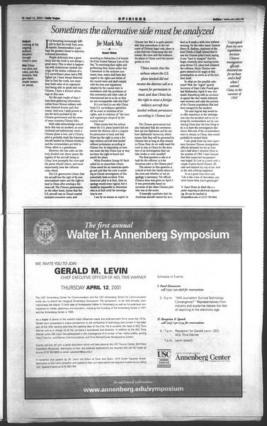 Daily Trojan, Vol. 142, No. 56, April 11, 2001