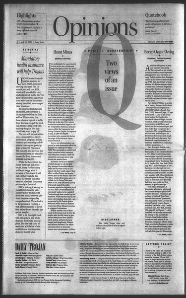 Daily Trojan, Vol. 142, No. 66, April 25, 2001