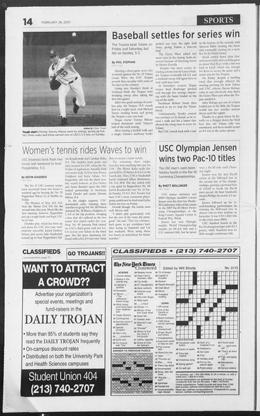 Daily Trojan, Vol. 160, No. 31, February 26, 2007