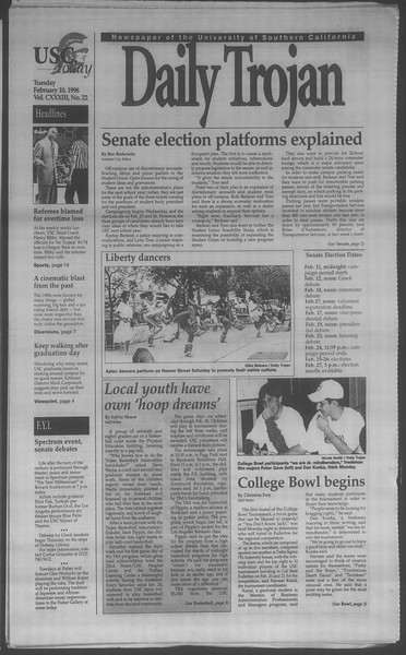 Daily Trojan, Vol. 133, No. 22, February 10, 1998