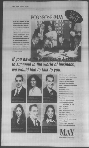 Daily Trojan, Vol. 133, No. 14, January 29, 1998