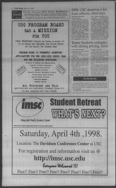 Daily Trojan, Vol. 133, No. 48, March 31, 1998