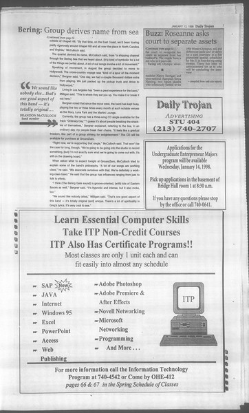 Daily Trojan, Vol. 133, No. 4, January 13, 1998