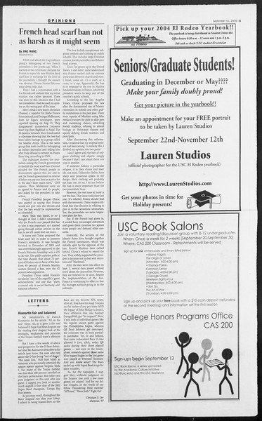 Daily Trojan, Vol. 153, No. 16, September 15, 2004