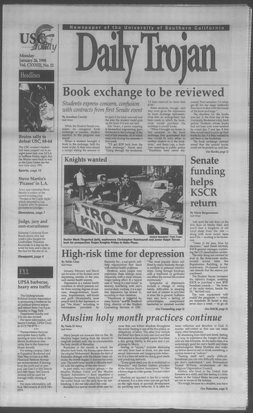 Daily Trojan, Vol. 133, No. 11, January 26, 1998