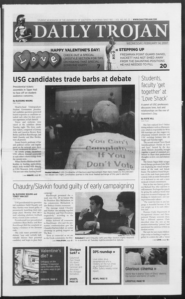 Daily Trojan, Vol. 160, No. 25, February 14, 2007