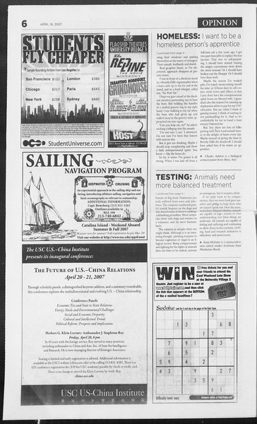 Daily Trojan, Vol. 160, No. 59, April 16, 2007