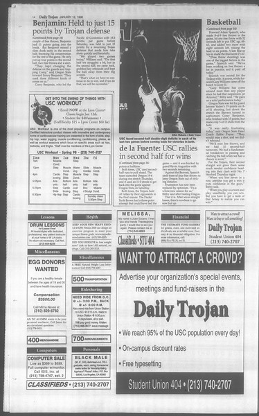 Daily Trojan, Vol. 133, No. 3, January 12, 1998