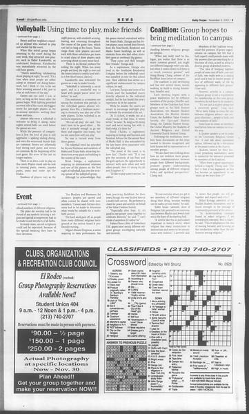 Daily Trojan, Vol. 144, No. 52, November 09, 2001