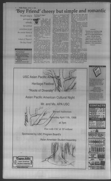 Daily Trojan, Vol. 133, No. 57, April 13, 1998