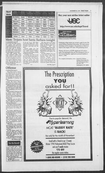 Daily Trojan, Vol. 132, No. 62, November 25, 1997