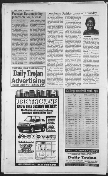 Daily Trojan, Vol. 132, No. 19, September 24, 1997