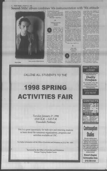 Daily Trojan, Vol. 133, No. 12, January 27, 1998