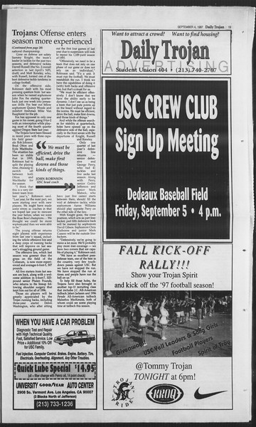 Daily Trojan, Vol. 132, No. 5, September 04, 1997