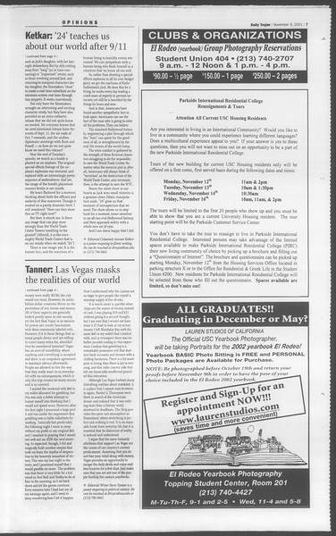 Daily Trojan, Vol. 144, No. 52, November 09, 2001