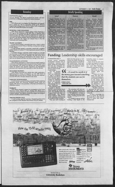 Daily Trojan, Vol. 132, No. 10, September 11, 1997