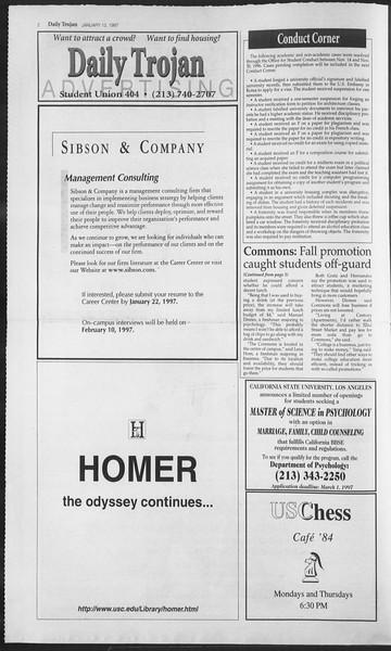 Daily Trojan, Vol. 130, No. 3, January 13, 1997