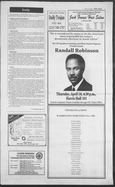 Daily Trojan, Vol. 127, No. 59, April 16, 1996