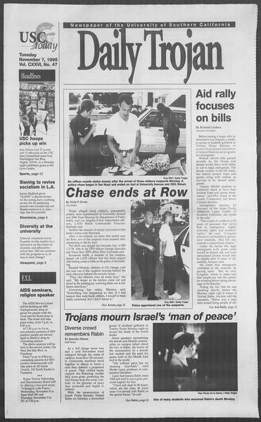 Daily Trojan, Vol. 126, No. 47, November 07, 1995