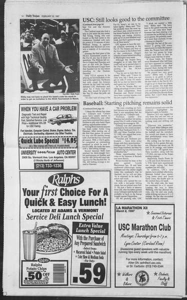Daily Trojan, Vol. 130, No. 30, February 25, 1997