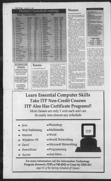 Daily Trojan, Vol. 130, No. 6, January 16, 1997