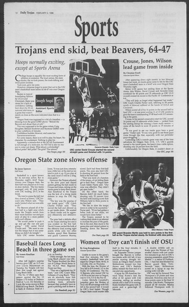 Daily Trojan, Vol. 127, No. 15, February 02, 1996