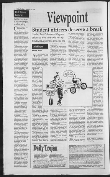 Daily Trojan, Vol. 130, No. 4, January 14, 1997